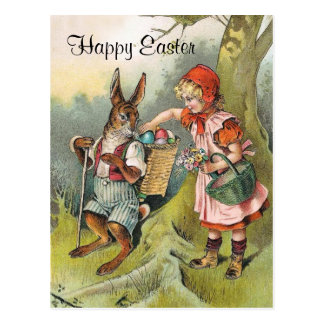 Bavarian Easter Bunny Victorian Girl Postcard
