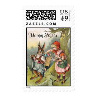Bavarian Easter Bunny Victorian Girl Stamp