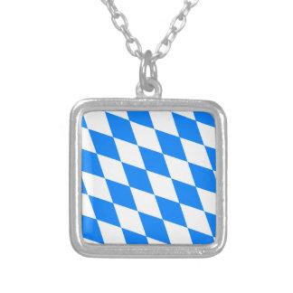 Bavarian Flag - Bayerische Flagge Square Pendant Necklace