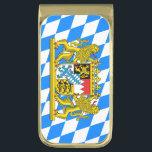 "Bavarian flag gold finish money clip<br><div class=""desc"">Flag and Coat of arms of Bavaria</div>"