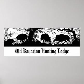Bavarian Hunting Lodge - Wild Boar, Wildschwein Poster