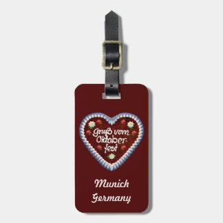 Bavarian Oktoberfest Heart Bag Tag