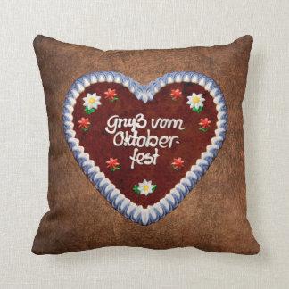 Bavarian Oktoberfest Heart Throw Pillow