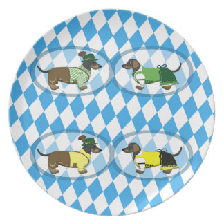 Bavarian pairs of dachshunds dinner plate