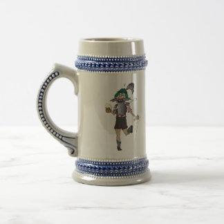 Bavarian with leather trousers and beer jug on Oct Beer Stein