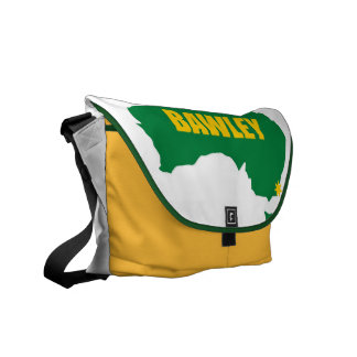Bawley Green and Gold Map Messenger Bag