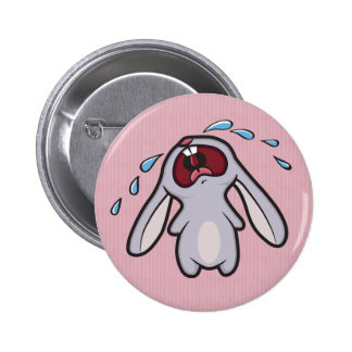 Bawling Bunny with Pink Stripes Button