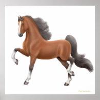Bay American Saddlebred Horse Print