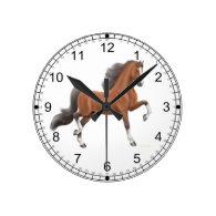 Bay American Saddlebred Horse Wall Clock