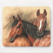 Bay and chestnut horses mouse pad