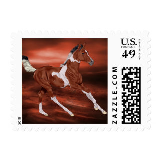 Bay and White Tobiano Paint Horse Foal Postage