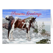 Bay and White Tobiano Paint Horse in Snow Card