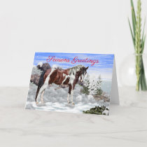 Bay and White Tobiano Paint Horse in Snow Holiday Card