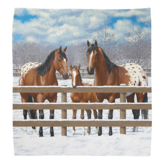 Bay Appaloosa Horses In Snow Bandana