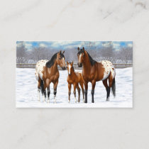 Bay Appaloosa Horses In Winter Snow Business Card
