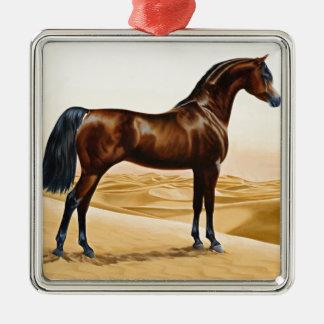 Bay Arabian Stallion Metal Ornament