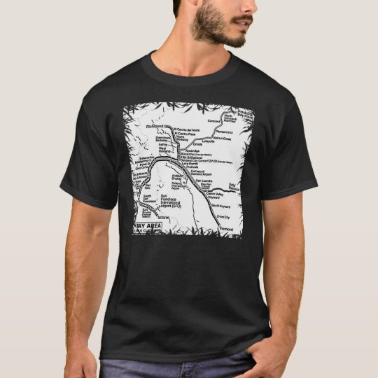 Bay area bart train map b w t shirt for South bay t shirt printing