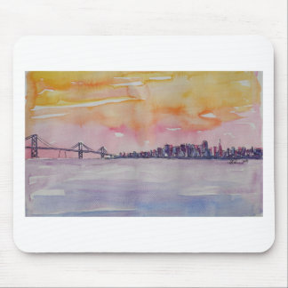 Bay Area Skyline San Francisco With Oakland Bridge Mouse Pad