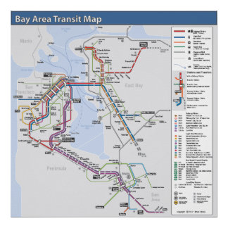 Bay Area Transit Map with Detailed Legend Poster