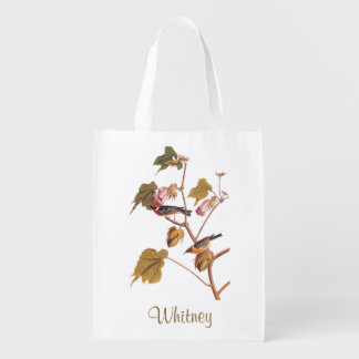 Bay Breasted Warbler Audubon Bird on Cotton Plant Reusable Grocery Bag