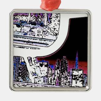 Bay  Bridge Abstraction - Multicolor Metal Ornament