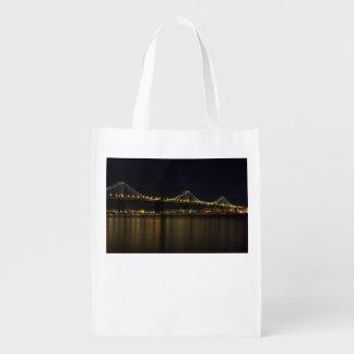Bay Bridge at Night Reusable Grocery Bag