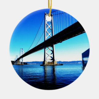 Bay Bridge Northern California San Francisco Double-Sided Ceramic Round Christmas Ornament