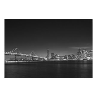 Bay Bridge San Francisco Black White Print