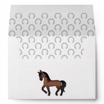 Bay Brown Cute Cartoon Trotting Horse Envelope