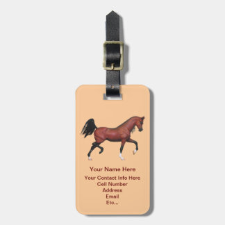 Bay Brown Trotting Running Horse Pony Luggage Tag