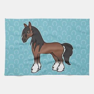 Bay Cartoon Gypsy Vanner Shire Clydesdale Towel
