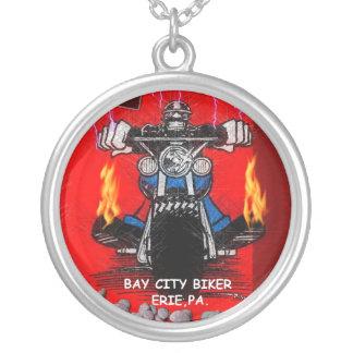 BAY CITY BIKER    (NECKLESS) ROUND PENDANT NECKLACE