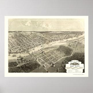 Bay City, mapa panorámico del MI - 1867 Posters