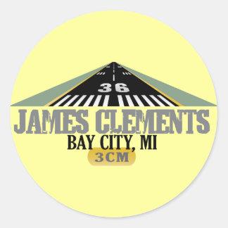 Bay City, MI - Airport Runway Classic Round Sticker