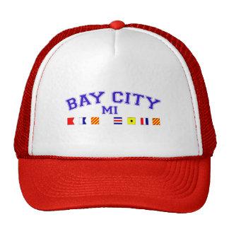 Bay City, MI - deletreo náutico Gorras