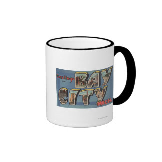 Bay City, Michigan - Large Letter Scenes Ringer Mug