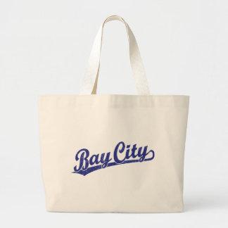 Bay City script logo in blue Tote Bag