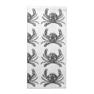 Beach Themed Bay Crab Picking in Black White or Custom Color Cloth Napkin