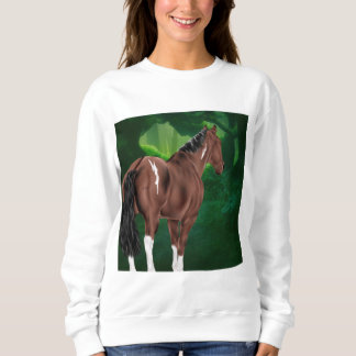 Bay Dun Tobiano Paint Horse in Thicket Sweatshirt
