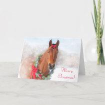 Bay Horse Christmas Holiday Card