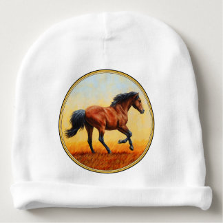 Bay Horse Galloping Baby Beanie