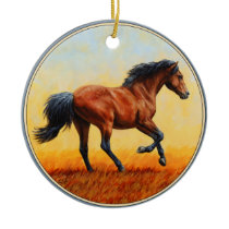 Bay Horse Galloping Ceramic Ornament