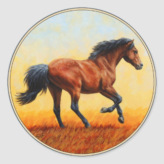 Bay Horse Galloping Classic Round Sticker
