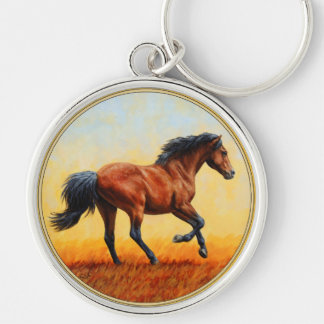 Bay Horse Galloping Keychain