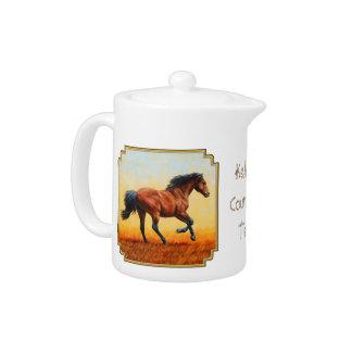 Bay Horse Galloping Teapot