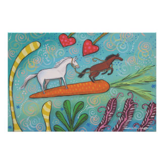 Bay Horse Guides White Horse - Guidance and Love Print