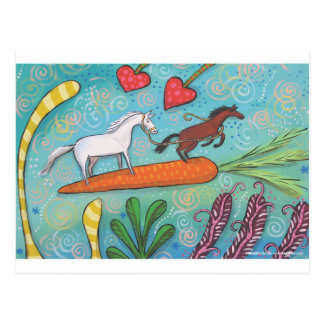 Bay Horse Guides White Horse With Love and Carrots Postcard