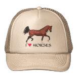 Bay Horse I Heart Horses Equine Art Pony Hat