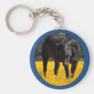 Bay Horse in a Field of Yellow Flowers Keychains