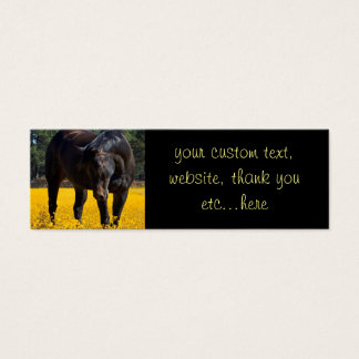 Bay Horse in a Field of Yellow Flowers Mini Business Card